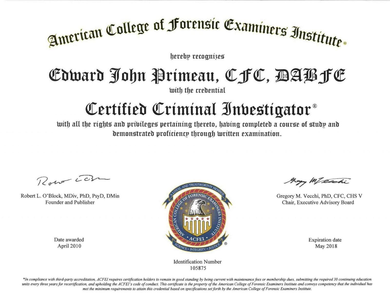 CCI ACFEI - Meet Edward Primeau, CCI, CFC