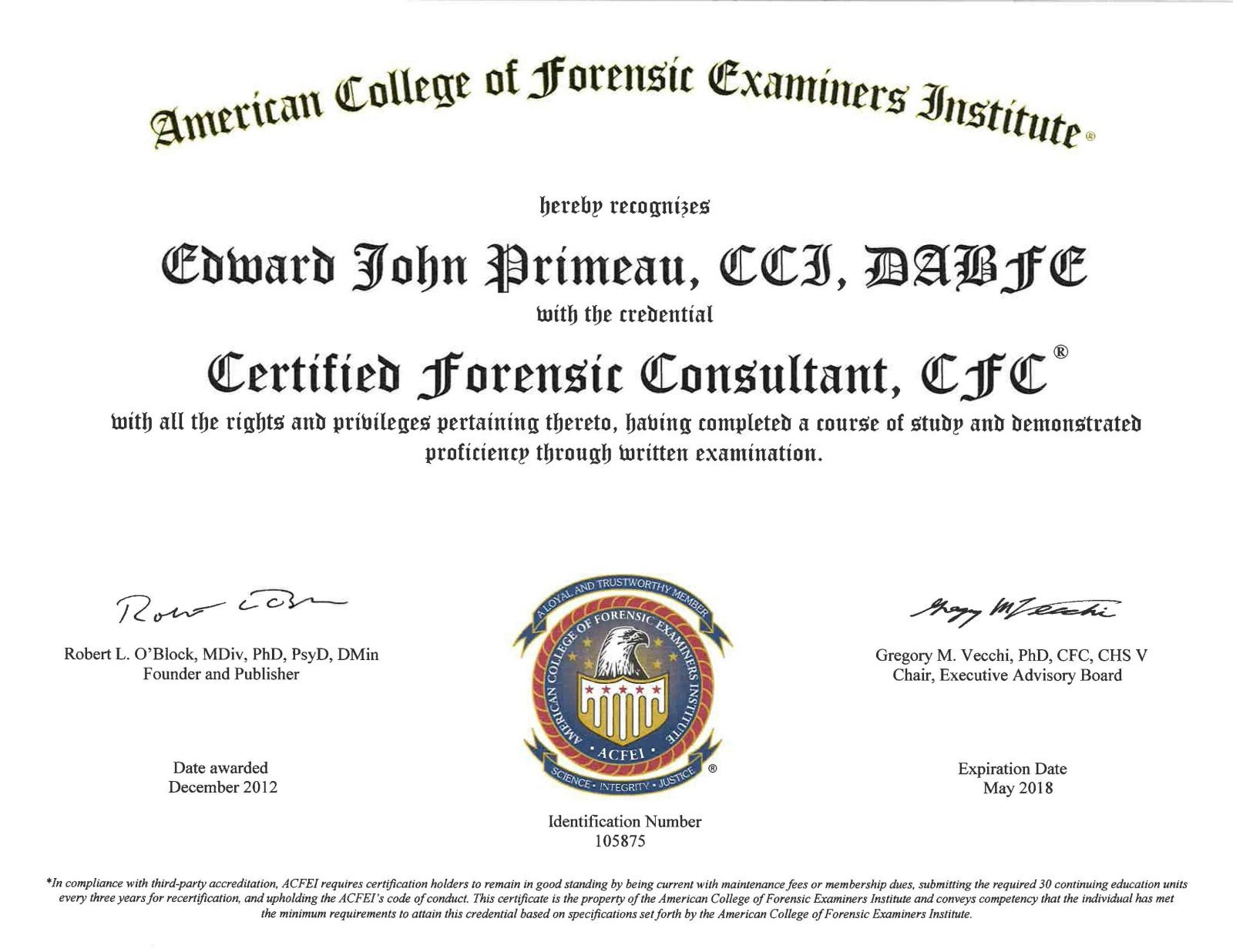 forensic expert certifications and training certified forensic consultant acfei
