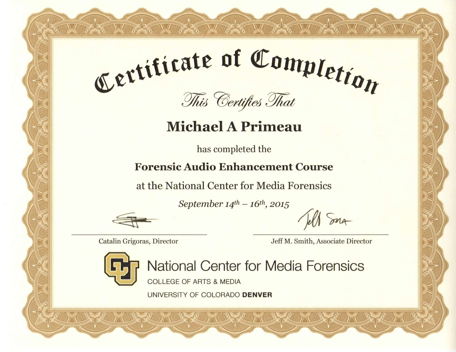 Forensic Audio Enhancement Mike Primeau