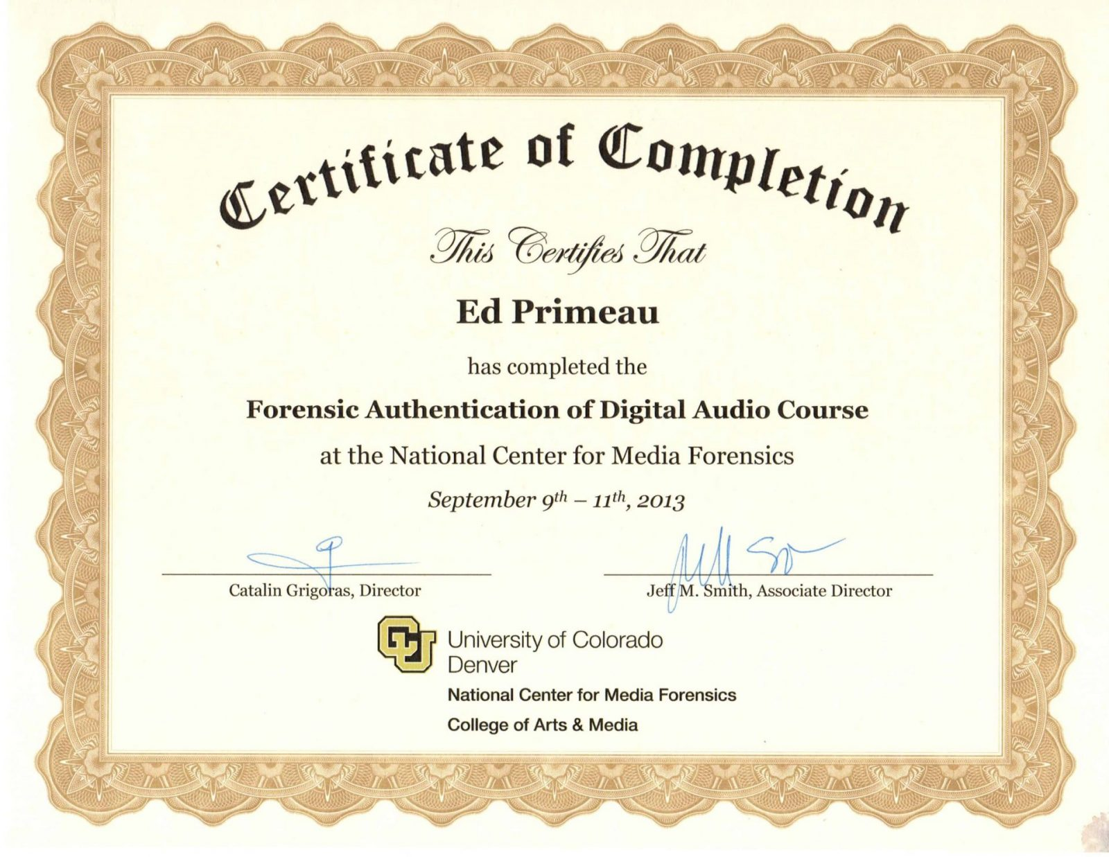 Forensic Authentication of Digital Audio Certificate