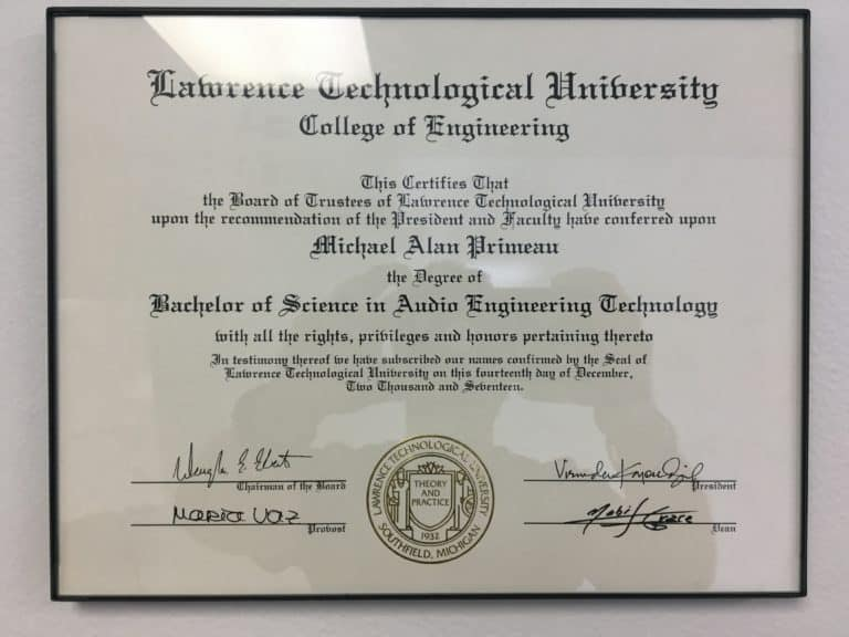 Bachelors of Science in Audio Engineering Technology